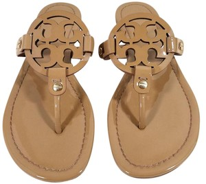 Tory Burch Flip Flops Bold Logo Cutout Patent Leather Nude Patent Sandals
