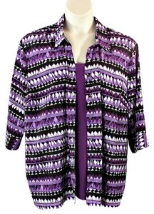 Maggie Barnes Twin Set Plus-size Two Fer Button Down Shirt Purple
