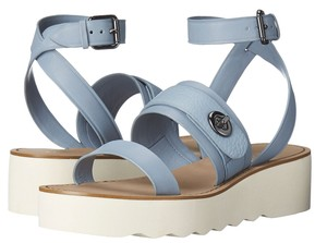 Coach Platt Leather Platform Cornflower Blue Sandals