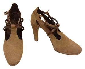 Max Mara Ankle Strap Suede Made In Italy Grey Pumps