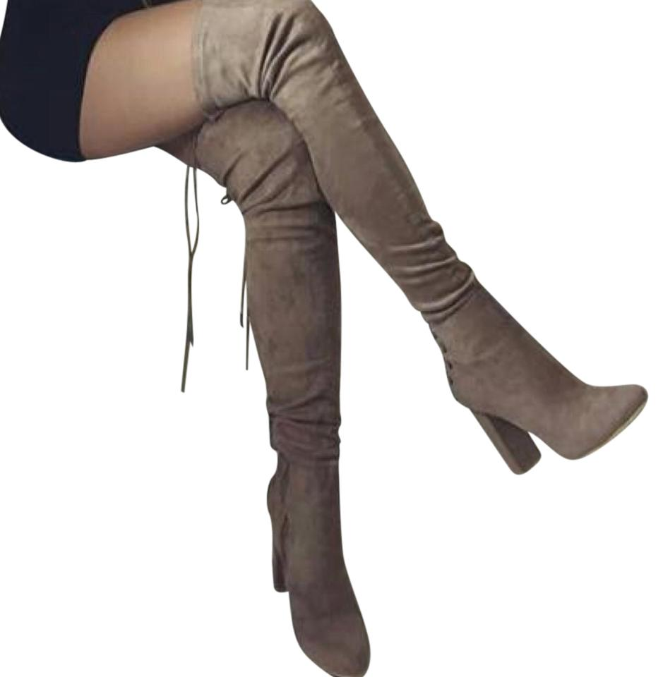 909692dff Stuart Weitzman Gray Highland Over The Knee Two Tone Suede Boots ...