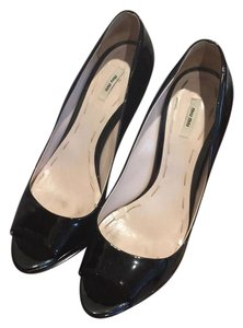 Miu Miu Patent Leather Open Toe Black Pumps