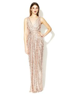 Badgley Mischka Rose Gold Sequin Belle Sleeveless V-neck Gown Formal Bridesmaid/Mob Dress Size 4 (S)