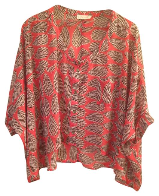 Sugarlips Sheer Leaves Dolman Top Red Black Green
