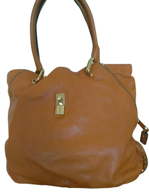 Item - With Golden Studs Rusty Orange Leather Tote