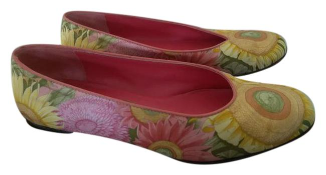 Item - Yellow Green Red Made In Italy Colorful Fabric Flats Size US 5.5 Regular (M, B)