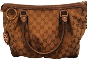 Gucci Satchel in Tan/ Brown with lavender leather
