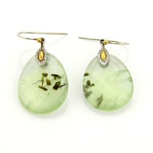 GURHAN 17827 - NOKTA Green Quartz Diamonds 24k Gold Sterling Dangle Earrings