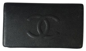 CHANEL CHANEL CC BLACK CAVIAR LEATHER WALLET