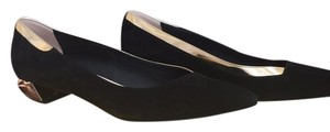 Fendi Black suede with pale gold leather trim and faceted rose gold heel Flats