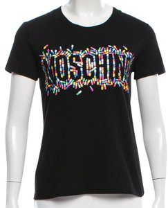 Moschino Monogram Logo Print Cotton Embellished T Shirt Black, Multicolor