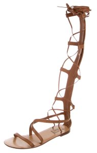 Valentino Gladiator Strappy Gold Hardware Cage Embellished Brown, Gold Sandals