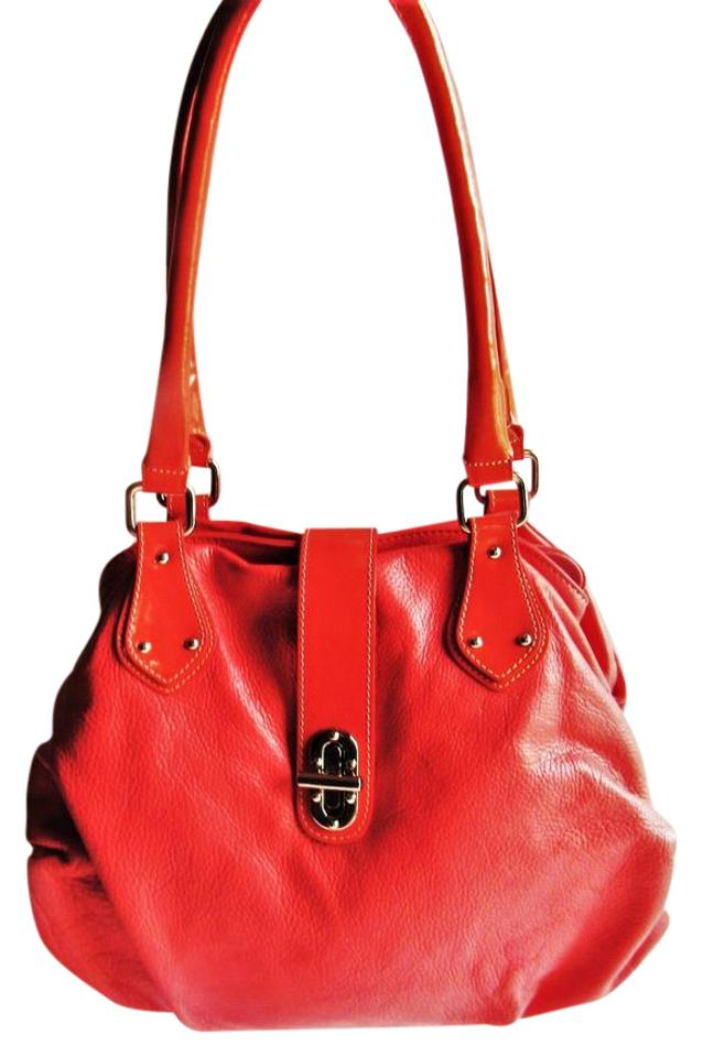 66a1c394c774 INNUE  Italy Soft Italian Large Shoulder Fire Coral Leather Hobo Bag ...