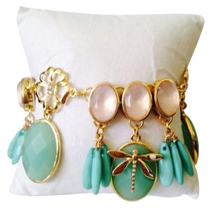 Kenneth Jay Lane Kenneth Jay Lane Faceted Blue Amazonite & Pink Quartz Charm Bracelet