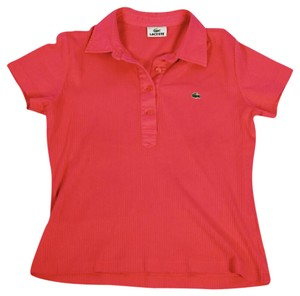 Lacoste Polo Ribbed T Shirt Pink