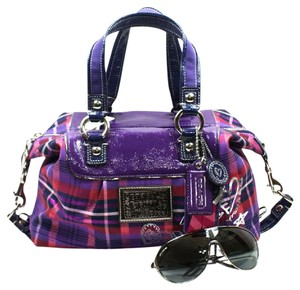 Coach Patent Leather Plaid Satchel in Purple/Navy/Red/Silver