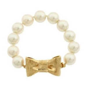 Kate Spade NWT Kate Spade All Wrapped Up In Pearls Gold Bow Pearl Bracelet