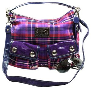 Coach Jacquard Plaid Leather Patent Leather Cross Body Satchel in Purple/Red/Navy