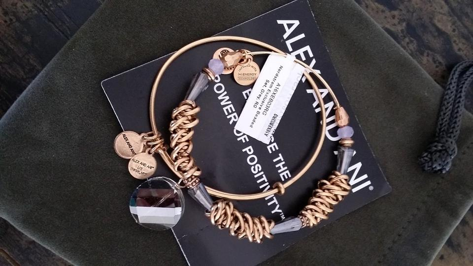 Alex And Ani Gold Set Of Two Plated Beaded Expandable Wire Bangle Bracelet 44 Off Retail