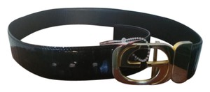 Gucci Gucci made in Italy patent leather belt with golden metal buckle