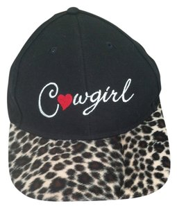 Horsewear Black Cowgirl Baseball hat with Animal Print bill and Cowgirl Embroidery with a red heart on front of hat