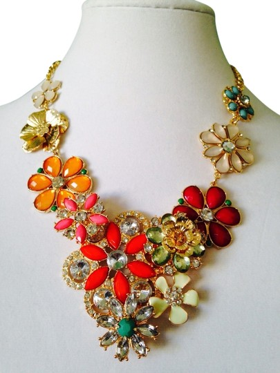 Lydell NYC Floral Bib Multi-Color Crystal Necklace