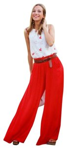 St. John Palazzo Flowy Casual Relaxed Pants red