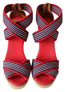 Tory Burch Comfortable Elastic Summer Red & Navy Wedges