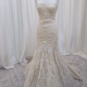 Enzoani Ivory/Champagne Lace Dakota Traditional Wedding Dress Size 8 (M)