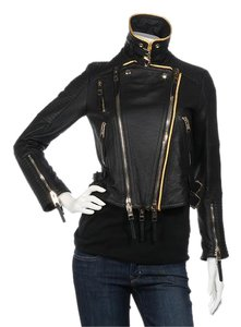 8a95f7d1d1a Burberry Prorsum Gold Piping Bb.el0412.18 Motocycle Panel Agneau Black  Jacket