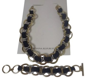 Banana Republic Banana Republic Double Link Navy Rope Toggle Necklace &Bracelet Set 2