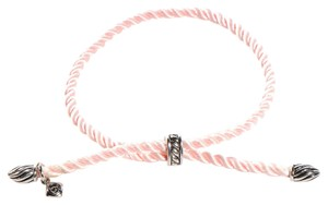David Yurman Adjustable Pink Silk Cord Bracelet with Silver-Plated Tips and Bale