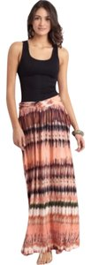 Torn by Ronny Kobo Maxi Skirt Peach Multi
