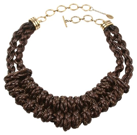 Amrita Singh So Hippie Chic Boho Braided Brown Gold Chains Necklace