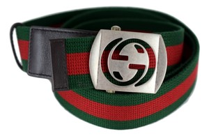 Gucci Gucci Men's 387032 Green Red Web Cut Out Palladium GG Belt 105 42