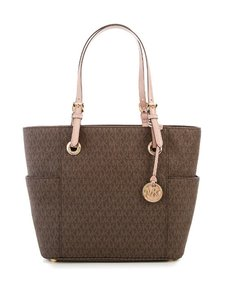 Michael Kors Top Zip Metallic Jet Se Item Jet Set Travel Tote in brown fawn