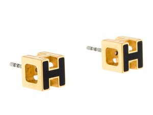 Herms 18K yellow gold plated Hermes Cage d'H stud earrings