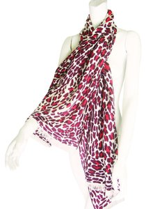 Hermès Hermes Leopard Print Cashmere and Silk Shawl (Red)