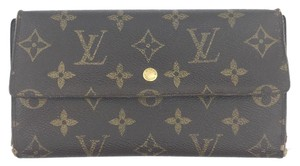 Louis Vuitton #11954 *Clearance* Large Long trifold leather Flap Wallet