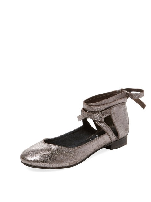 Item - Burnished Silver New Boxed Ballet with Ties 38 Flats Size US 7.5 Regular (M, B)