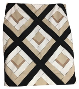 White House | Black Market Skirt Tan, White, Black Diamonds