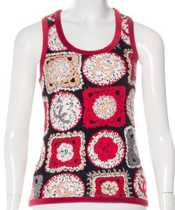 Chanel Sleeveless Interlocking Cc Heart V-neck Monogram Top Red, White, Black