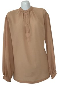Halston Button Down Shirt Tan