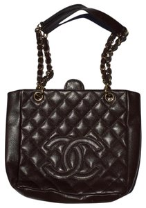 Chanel Ladies Quilted Caviar Petite Shopping Tote Handbag Leather Shoulder Bag