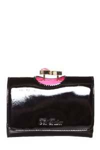 Ted Baker Black Patent Leather Compact Wallet NWT