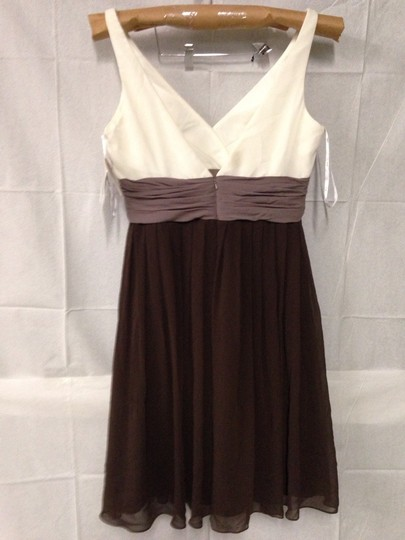 Wtoo Offwhite/Light Brown/Dark Brown Bridesmaid/Mob Dress Size 14 (L)