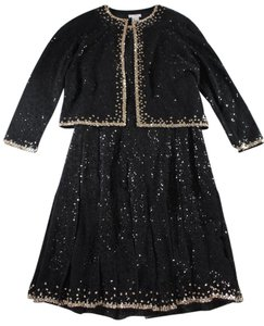 Oscar de la Renta Cashmere Sequin Set Dress
