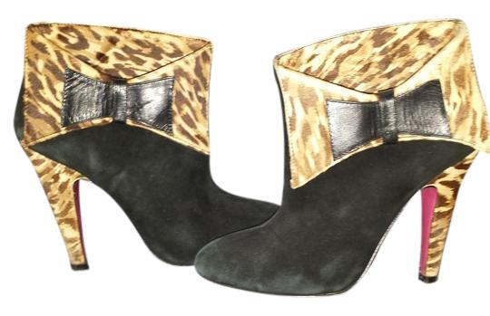 Betsey Johnson Leopard Suede Chic BLACK Boots