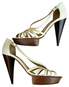 Lanvin Patent Leather Strappy White Sandals