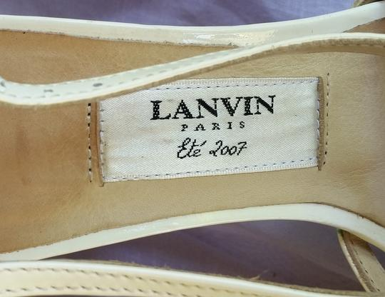 Lanvin Patent Leather Strappy Platform White Sandals